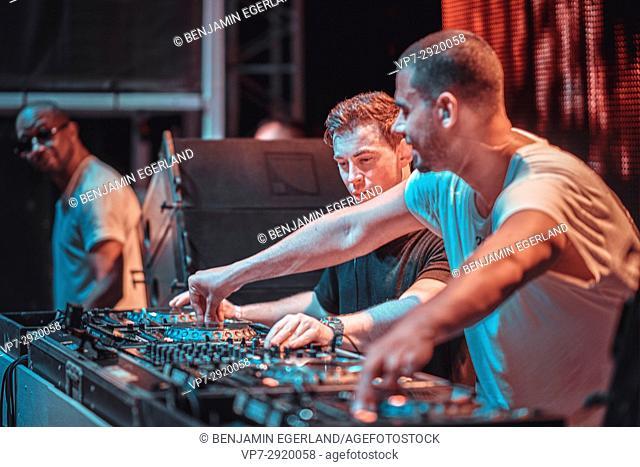 DJ Hardwell B2B Afrojack with MC Ambush at music festival Starbeach on 17. July 2017 in Hersonissos, Crete, Greece - they played spontaneously B2B because the...