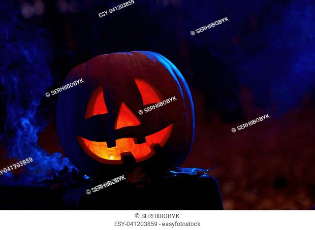 Horizontal shot of a Halloween pumpkin in a dark spooky forest with smoke copyspace mystery horror concept