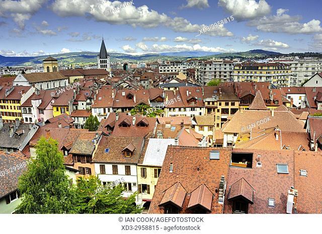city viewed from Chateau dâ. . Annecy, Annecy, Haute-Savoie department, Auvergne-Rhône-Alpes, France