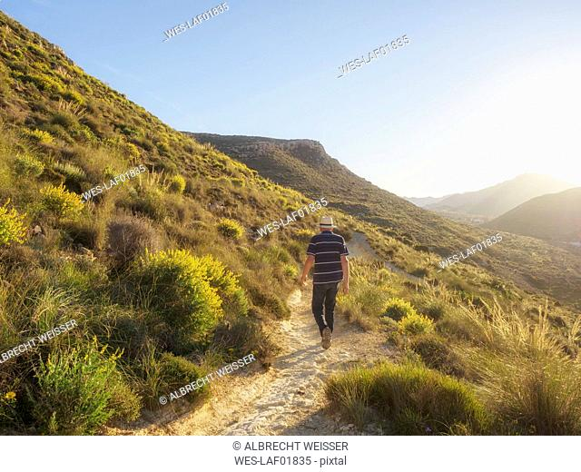 Spain, Andalusia, Cabo de Gata, back view of man hiking