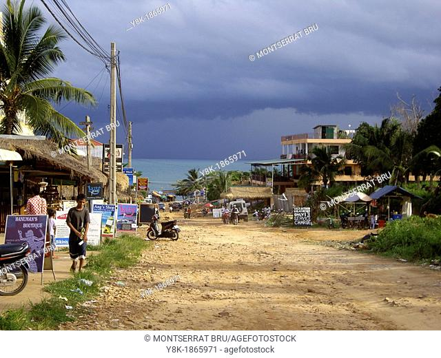Serendipity road in Sihanoukville, Cambodia during the monsoon