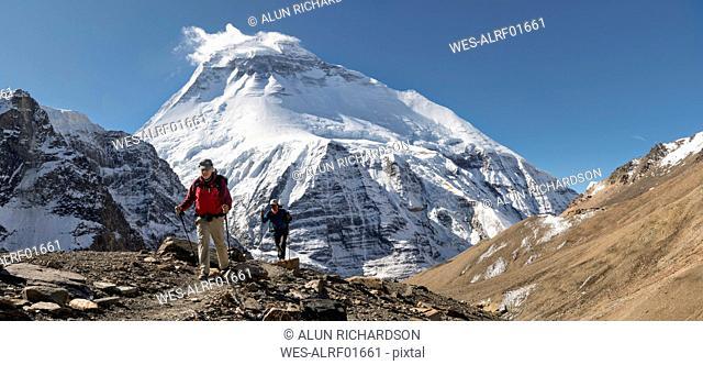 Hikers at Chonbarden Glacier, Dhaulagiri, French Pass, Dhaulagiri Circuit Trek, Himalaya, Nepal