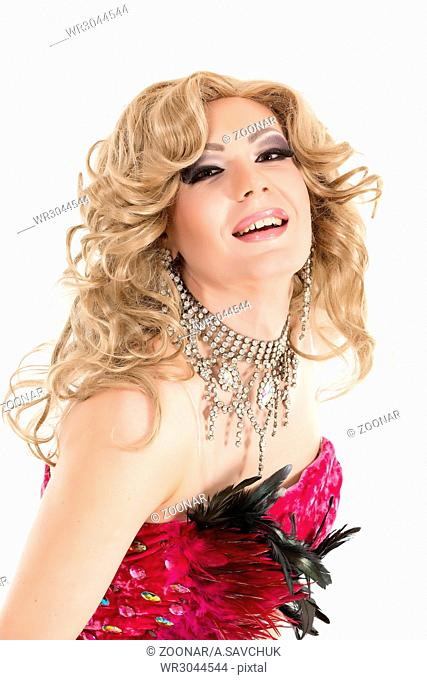 Portrait Drag Queen in Red Evening Dress Performing