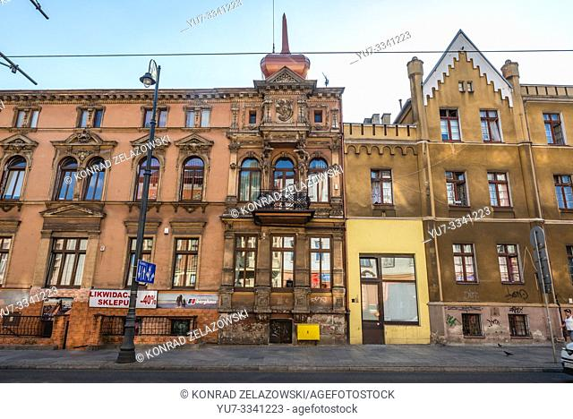 Old residential buildings on Dworcowa Street in Bydgoszcz city, Poland