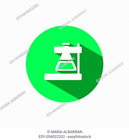 Laboratory conical flask icon with shadow on a green circle. Flat color vector pharmacy illustration