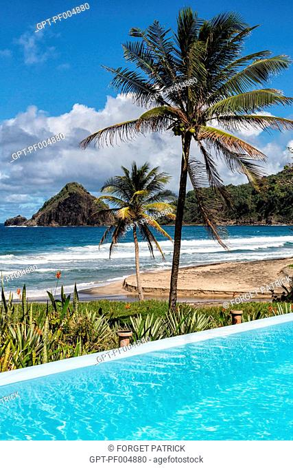 POOL IN FRONT OF THE ANSE CHARPENTIER BEACH, LE MARIGOT, MARTINIQUE, FRANCE