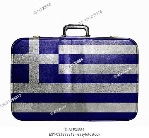 Vintage travel bag with flag of Greece