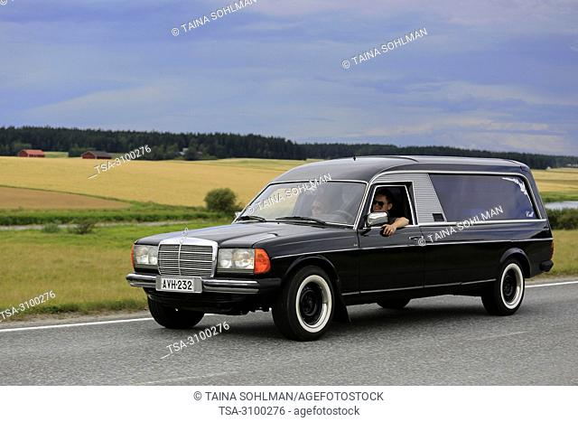 VAULAMMI, FINLAND - AUGUST 4, 2018: Mercedes-Benz funeral car, hearse, on country road on Maisemaruise 2018 car cruise in Tawastia Proper, Finland
