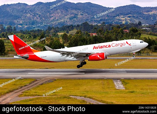 Medellin, Colombia ? January 25, 2019: Avianca Cargo Airbus A330-200F airplane at Medellin airport (MDE) in Colombia