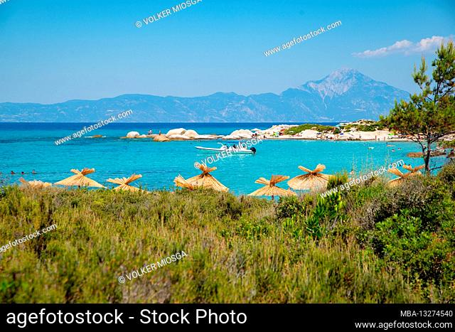 Kavourotrypes beach with Athos in the background - Halkidiki