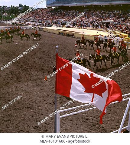 A group of Royal Canadian Mounted Police at a stampede parade in Calgary