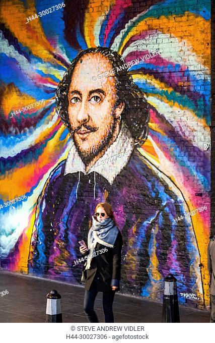 England, London, Southwark, Bankside, Clink Street, Shakespeare Mural