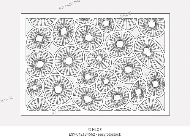 Template for cutting. Round art pattern. Laser cut. Set ratio 2:3. Vector illustration