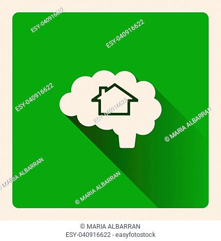 Brain thinking in a house illustration on square green background with shade