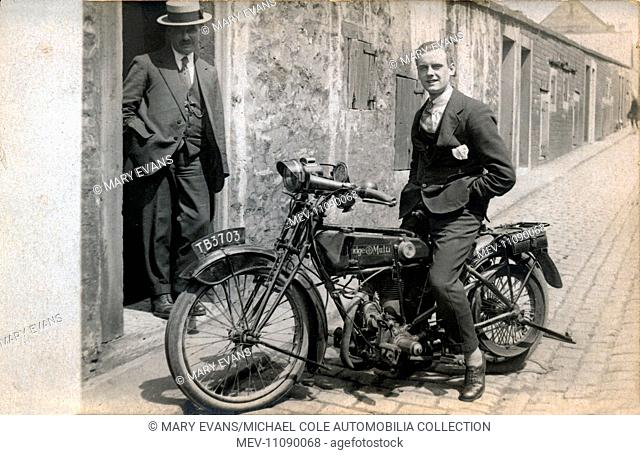 Gentleman on a 1918/20 Rudge Multi 500cc motorcycle in the street circa 1920s