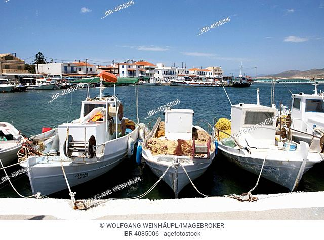 Fishing boats in the harbour, Elafonisos, Ionian island, Peloponnese, Greece