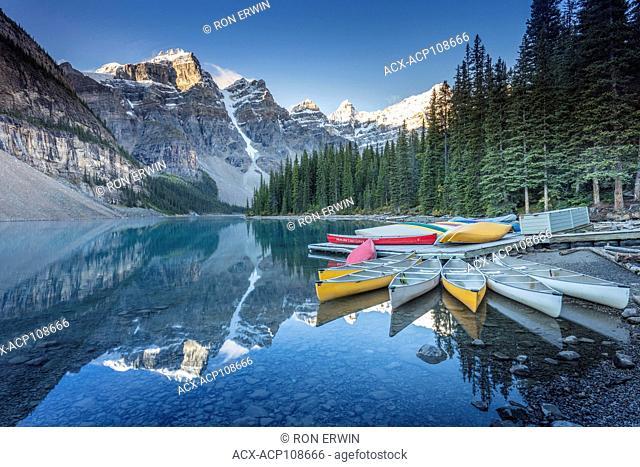 Canoes on Moraine Lake in Banff National Park, Alberta, Canada