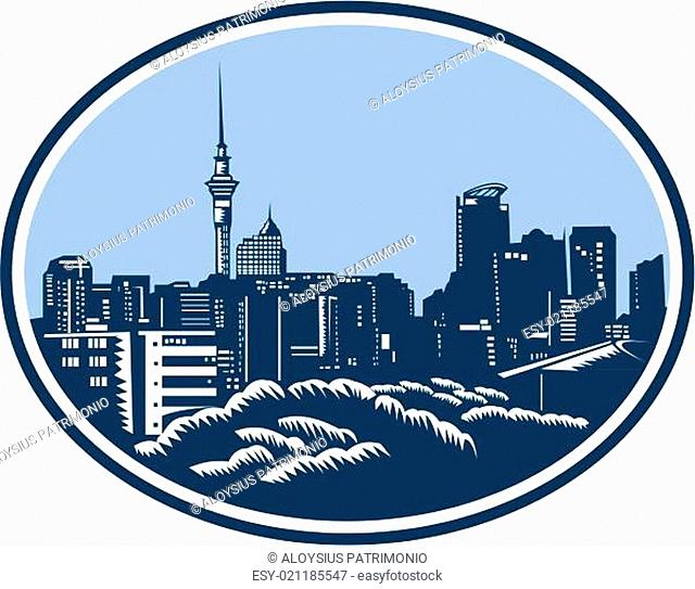 Auckland City Skyline Woodcut Retro