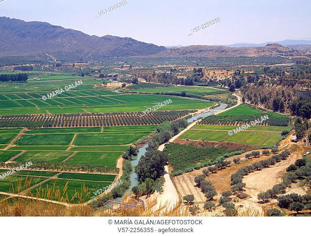 Cultivation fields and river Argos. Calasparra, Murcia, Spain