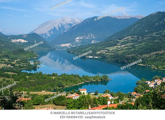 View of Barrea lake, in National park of Abruzzo, and mountains on background