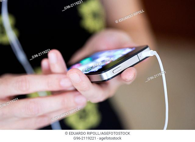 Woman working with smart phone