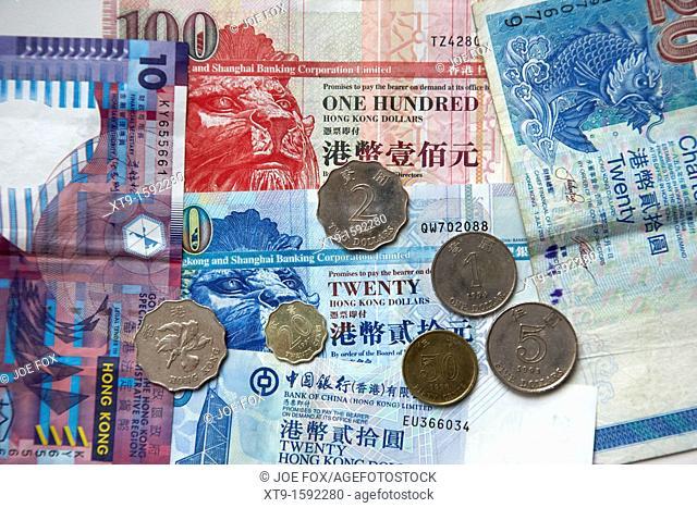 hong kong dollar notes and coins, hksar, china