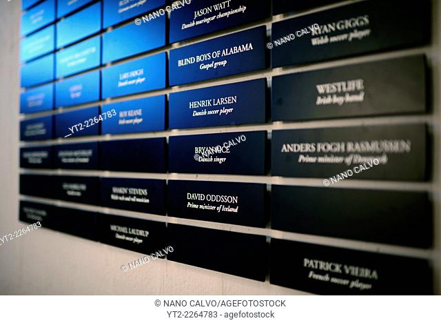 Board with names of famous and popular clients in Hotel Foroyar, Tórshavn, Faroe Islands