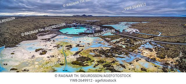Aerial view of The Blue Lagoon and the lava landscape. Iceland. This image is shot with a drone