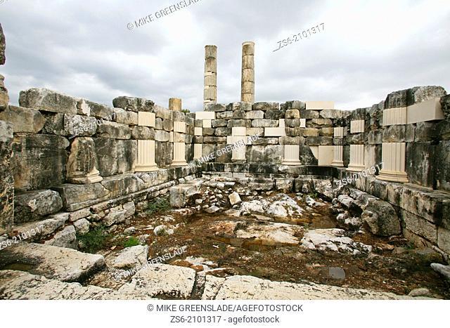Restoration of Roman ruins in progress at Letoon