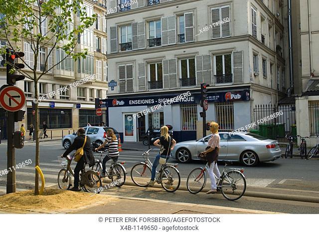 Bicycles at traffic light Boulevard Richard Lenoir Oberkampf district Paris France Europe