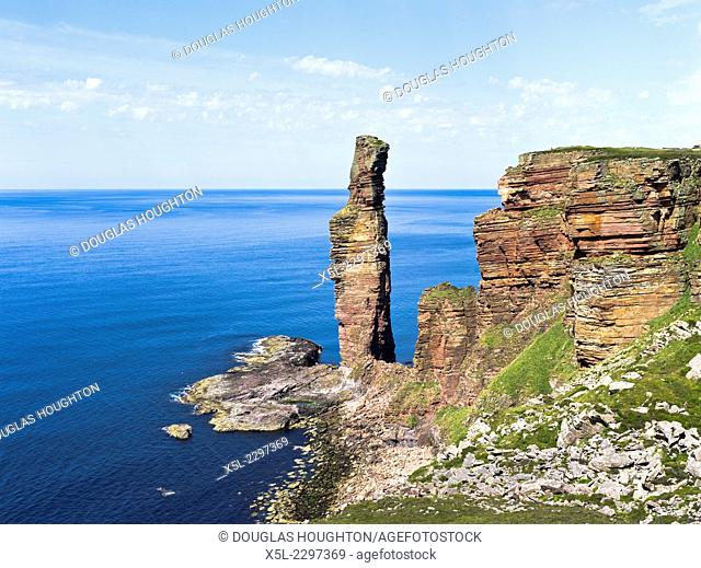 Old Man of Hoy HOY ORKNEY Red sandstone sea stack and seacliffs