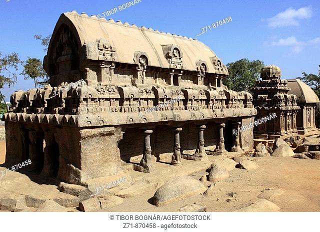 India, Tamil Nadu, Mamallapuram, Mahabalipuram, Five Rathas, rock temples