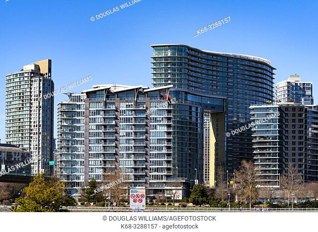 New apartment towers on the north side of False Creek, downtown Vancouver, BC, Canada