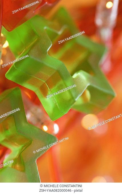 Green Star of David holiday decoration, close-up