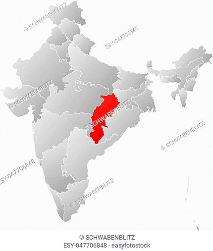 Map of India with the provinces, filled with a linear gradient, Chhattisgarh is highlighted