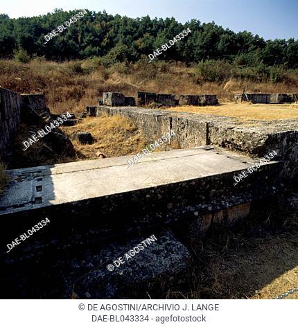 Remains of the Palace of Palatitsia, ancient city of Vergina (Unesco World Heritage List, 1996), Macedonia, Greece. Macedonian civilisation, 4th century BC