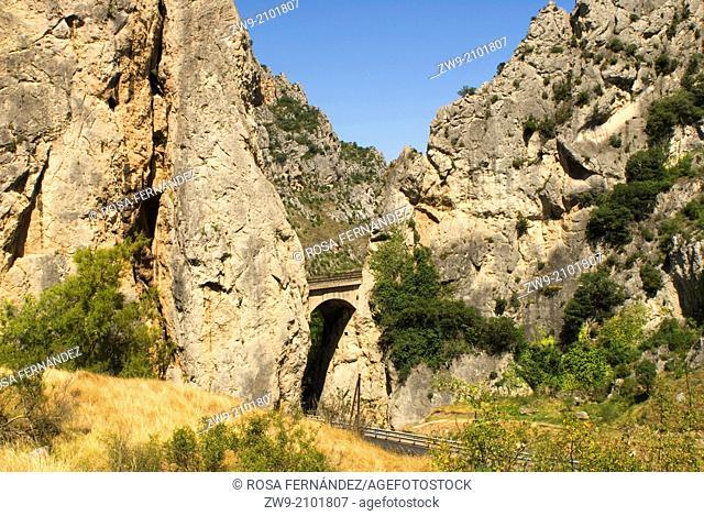The narrow mountain pass of Pancorbo, Obarenes Mountains, Iberian Range, province of Burgos, Castilla y Leon, Spain