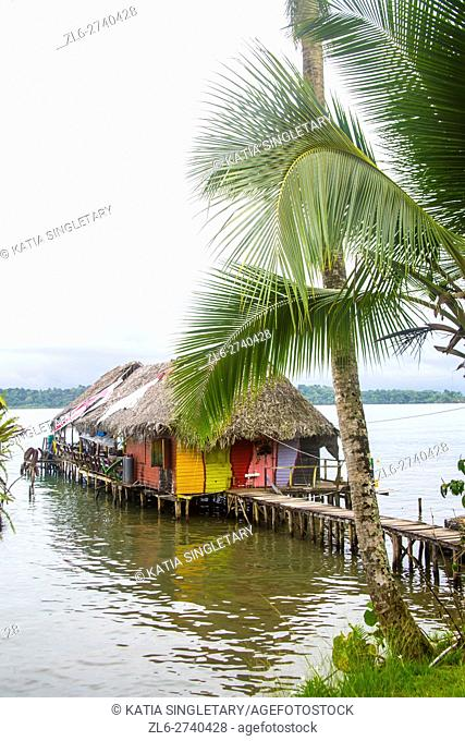 Colorful bungalow, cabin house on the water with Palm tree hanging on the dock, on the boardwalk that leads to the house