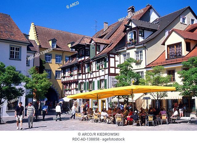 Pavement cafe at castle square Meersburg Lake Constance Baden-Wurttemberg Germany Schlossplatz