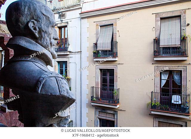 Sant Pere Mes Alt street, from Palau de la Musica Catalana, by Lluis Domenech i Montaner, Barcelona, Spain