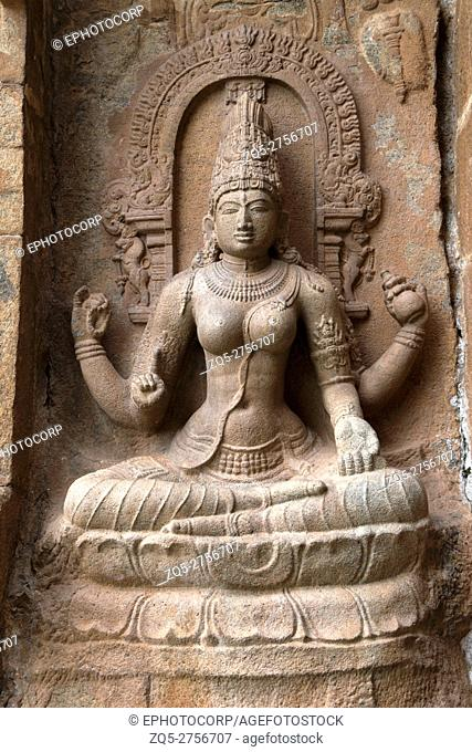 Goddess Sarsvati seated on a lotus, northern niche of the central shrine, Brihadisvara Temple, Gangaikondacholapuram, Tamil Nadu, India