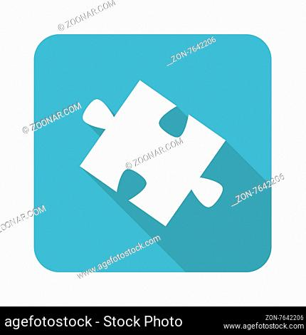 Square icon with image of puzzle piece, isolated on white