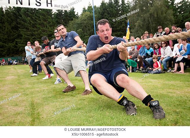 Tug of war team from Harborne Rugby Club in Birmingham take on the locals  The men from England came in second to the more experienced Carrbridge local team...
