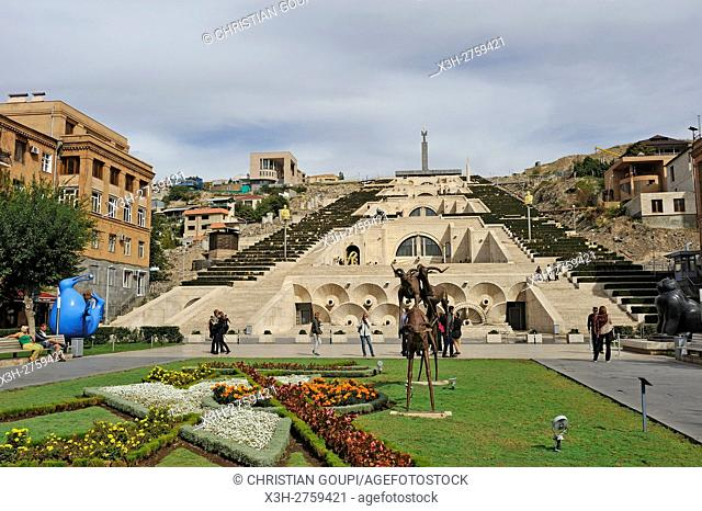 the monumental staiway and garden Cascade viewed from Tamanyan Square, Yerevan, Armenia, Eurasia