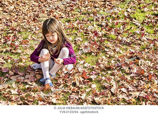Five year old girl playing with an autumn leaf
