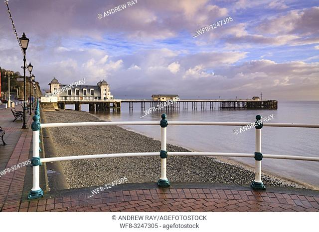 The Victorian Pier at Penarth near Cardiff in South Wales, captured from the promenade when it was bathed in early morning light in mid February