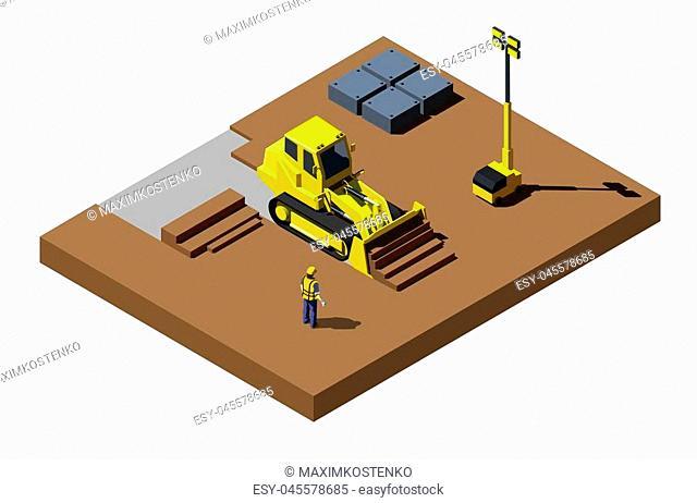 Yellow bulldozer at construction site. Modern isometric construction vehicle illustration