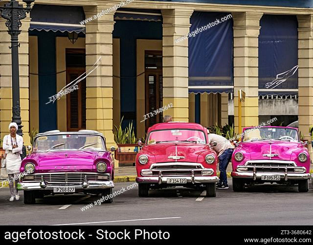 Vintage Cars at Central Park, Havana, La Habana Province, Cuba