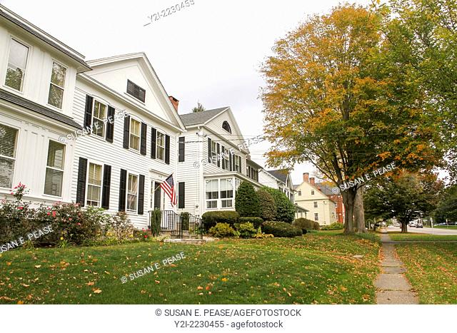 An autumn view of homes in Litchfield, Connecticut, USA
