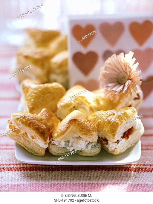 Savoury filled puff pastry hearts
